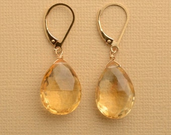 Citrine Earrings, November Birthstone Earrings, Healing Gemstone Jewelry, Large Faceted Citrine Gemstone Earrings