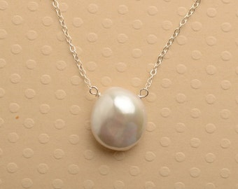 White Pearl Necklace, Pearl Silver Chain Necklace, Healing Gemstone Jewelry, White Coin Pearl, June Birthstone Necklace