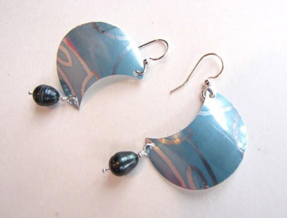 Sky Blue Earrings /Half Moon /Pearls /Handmade from Soda Cans