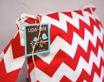 Wet Bag or Eco-Bag with Snap Handle - Waterproof - Chevron - Red
