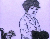 Encaustic Painting- Lavender Boy and Squirrel