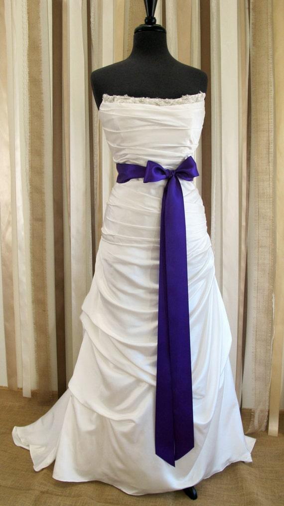 "SALE Bridal Sash 2 1/2"" Purple Satin Ribbon Ready to Ship - ""Sophie"""