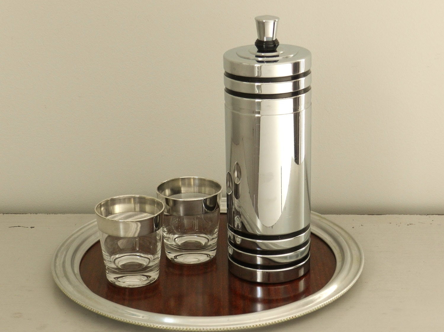 Vintage Chase Cocktail Martini Shaker 1930s Art Deco Decor