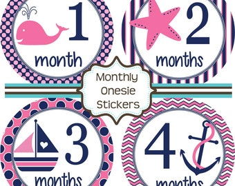 Monthly Baby Stickers - Baby Shower Gift and Photo Prop - Nautical Girl - 204