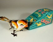 Super Nice Vintage Tin Wind-Up Oriole Bird, Old Store Stock From China MIB