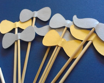 Mustache/Bow Cupcake Toppers (24) Number 36216 You Choose Your Color Gender Reveal Party Twins
