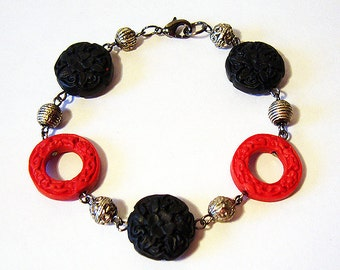 Dynasty - Carved Red and Black Cinnabar Bracelet