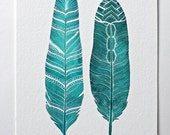 Feather Watercolor Art Painting, Turquoise Art Print, Nature Art, Archival Print - River Song Feathers