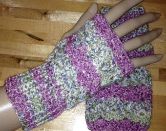 Handmade Crochet Fingerless Gloves - Purple and Grey