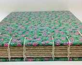 RESERVED-Coptic Stitch Sketchbook/Guestbook- Light Green with Pink Flowers