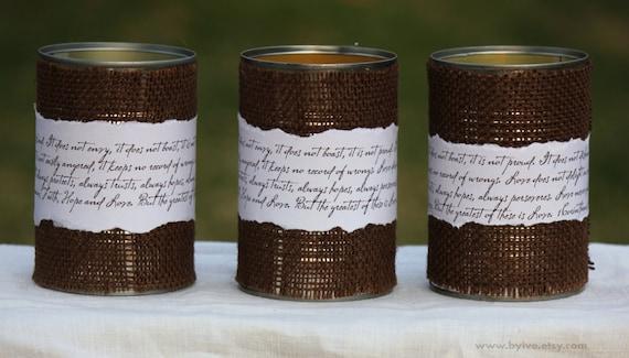 Items similar to Tin Can Centerpiece. Rustic and Fall Wedding Decor. Set of  3 Tin Can Burlap. 1 Cor 13 Script. on Etsy - Items Similar To Tin Can Centerpiece. Rustic And Fall Wedding
