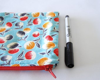 zip up bag - modern bubble flowers - small sky blue pen case / purse organizer with white, navy, red, and orange flower pattern