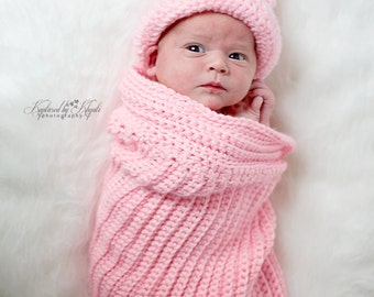 Ribbed Baby Cocoon, Sleeping Bag, Baby Sleep Sack, Newborn Crochet, Baby Boy Item, Baby Girl Item, Infant Snuggle Pod, Pink Cocoon