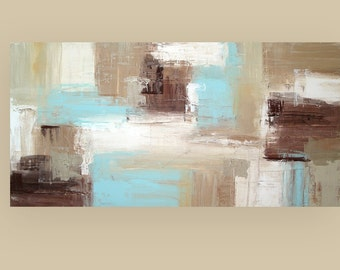 "Art Abstract Acrylic Original Painting on Gallery Canvas Titled: Urban Life 24x48x1.5"" by Ora Birenbaum"