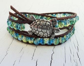 Turtle Bracelet, Blue and Green Wrap Bracelet, Double Leather Wrap, Turtle Jewelry, Tropical Jewelry, Boho, Beach Jewelry