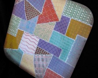 CRAZY QUILT PLATE, An Original Hand Painted Wooden Serving Plate Using Crazy Quilt Fabric Design