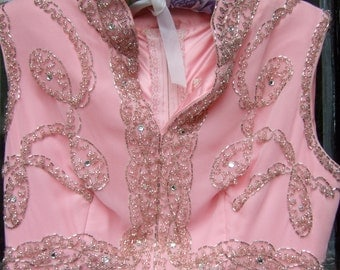1960s Frothy Pink Jeweled Crystal Bodice Chiffon Gown
