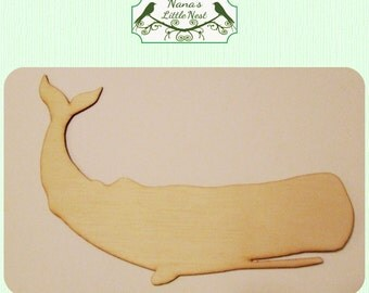 Whale / Ocean / Nautical (Medium) Wood Cut Out - Laser Cut Wood