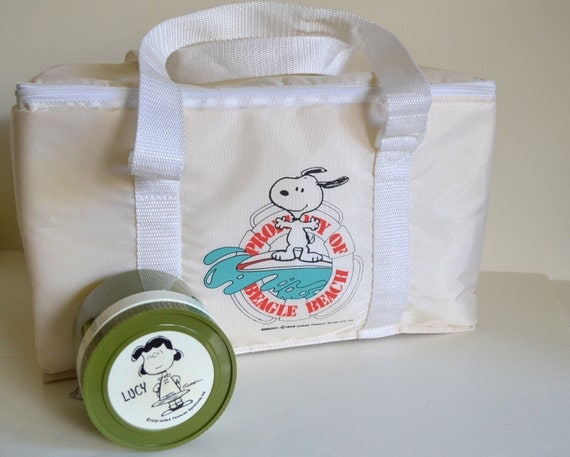 Vintage Peanuts Snoopy RESERVED Soft Cooler Insulated Picnic Lunch box & Lucy Soup Thermos collectible. Beagle Beach Storage Case 1958