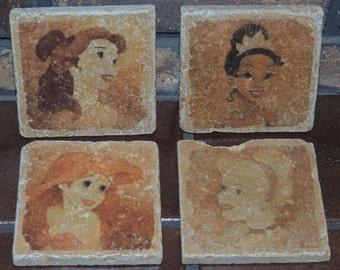 "FREE SHIPPING - Vintage Disney Princess Tumbled Marble Tile Coasters 4""x4"" Set of 4"