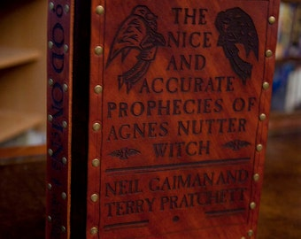 Leather covered copy of Good Omens by Neil Gaiman and Terry Pratchett