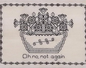 Petunias Blackwork Pattern Hitchhiker's Guide to the Galaxy PDF Download Only Geek Embroidery