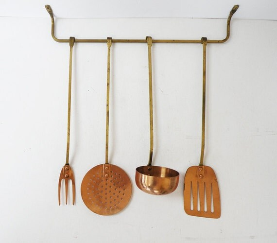 Four Copper And Brass Vintage Kitchen Utensils By