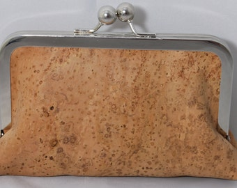 Natural cork clutch with gray cotton lining. Gorgeous and eco-friendly