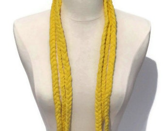 Light Lite Pale Yellow Three Braid Infinity Upcycled T shirt Scarf/Necklace