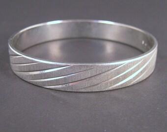 Bangle Bracelet, Silver Tone, Vintage, Monet Brushed Silver, Preppy Accessory