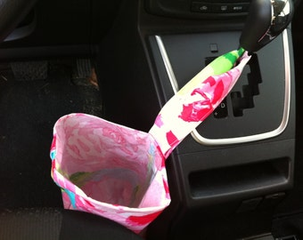 Car trash bag made with Lilly Pulitzer fabric, lined with vinyl