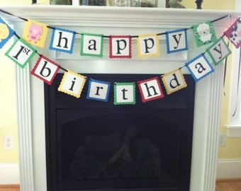 Farm Birthday Banner/ Cow/ Sheep/ Pig/ Chick/ Birthday Banner/ Farm Garland/ Red/ Blue/ Green/ Yellow/ Customized Birthday Banner