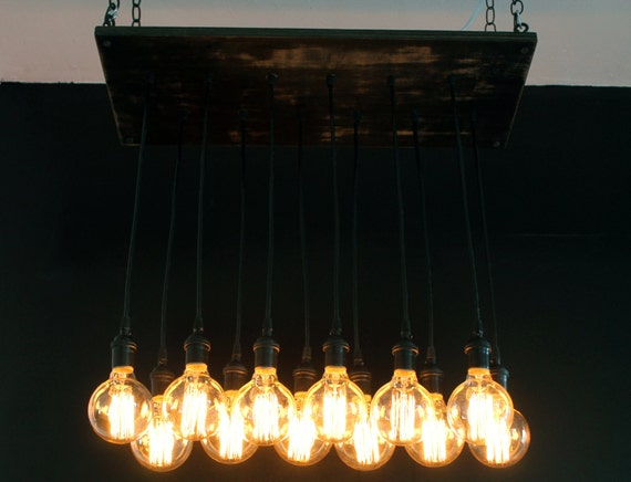 Reclaimed wood lighting with distressed bourbon stain & edison filament bulbs