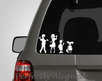 Zombie Family of 4 Vinyl Car Decal - Family Decal - Stick Figure Family - Car decal