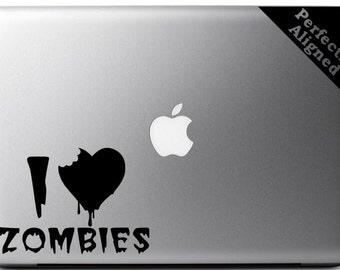 I Heart Zombies Vinyl Decal - Macbook Decal - Car Decal - Laptop Decal etc...
