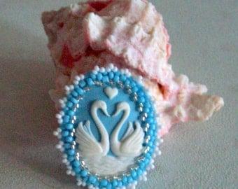Blue Love Swans Cameo Brooch