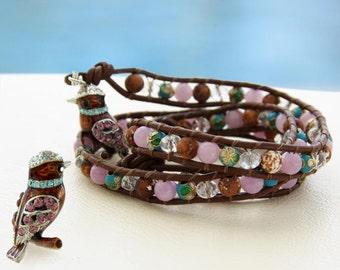 Sweet Birdy... Leather wrap bracelet... Beaded Tripple Wrap Bracelet. Original OceanBead style.