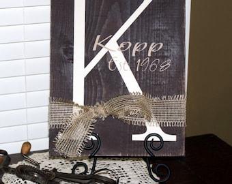 Initial Plaque with Burplap