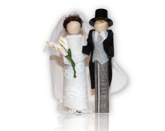 Season 3 Downton Abbey Clothespin Doll Ornament Kit: Lady Mary and Matthew Crawley Wedding Couple