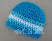 Newborn Hat for Baby Boys, Aqua Blue and White Newborn Cap