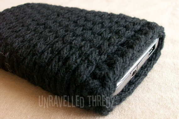 Black Cell Phone Sock Cozy- Iphone, HTC, Samsung Galaxy, For Techie