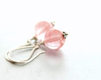 Pink Cherry Quartz Earrings - Sterling Silver Drop Earrings, Gemstone, Pastel Pink Rose, Spring Summer Fashion, Gift for Her Under 25