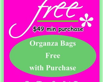 10 Organza Bags Free with Minimum Purchase - Pick Color by the TENS- assorted colors, 3X4 size, satin drawstring. Please read listing.