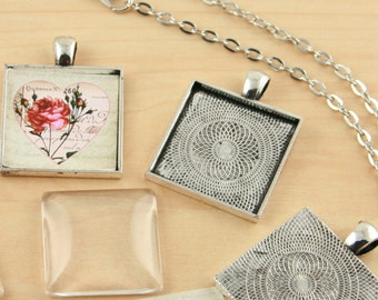 10 Pendant and Glass Kit with Optional Vintage Chains (10) and Seals (10 or 20)  -  SQUARE Pick your Finish Bezels Settings 25mm