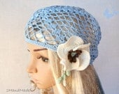 Woman Lace Crochet Vintage Style Blue Headband Dreadlock Hair Snood Wrap Ponytail Kerchief Bandana Gypsy Pirate Tam Dreads Hat Summer