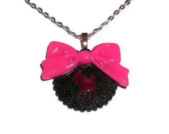 Kawaii Deer Necklace, Hot Pink Bow, Black Glitter Scallop Cute Necklace