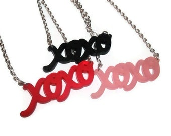 xoxo Necklace, Hugs and Kisses, Cute Frosted Laser Cut Necklace
