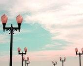 Landscape photograph, summer, dreamy, beach, wall decor, teal, clouds - Pier Lights Fine Art Photograph