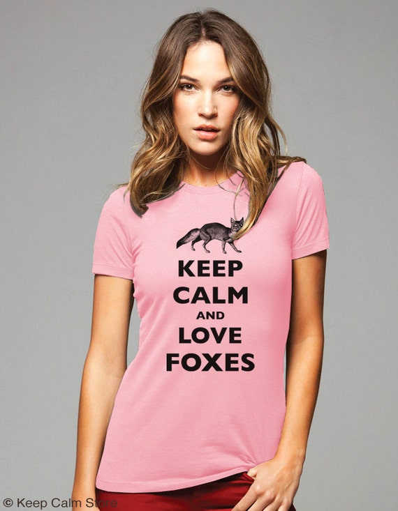 Keep Calm and Love Foxes T-Shirt - Soft Cotton T Shirts for Women, Men/Unisex, Kids