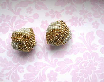Pearl and Gold Earrings Beaded Woven Faux Clip on Vintage Bridal Wedding Jewellery